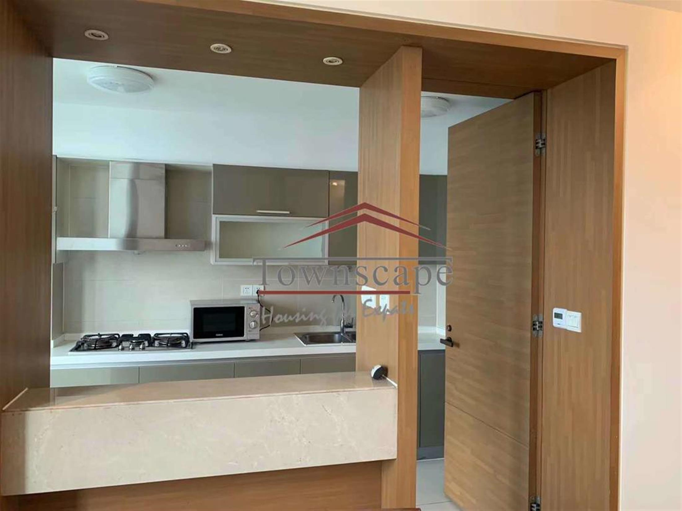 open Kitchen Spacious Parkside Xujiahui Apartment for Rent in Shanghai