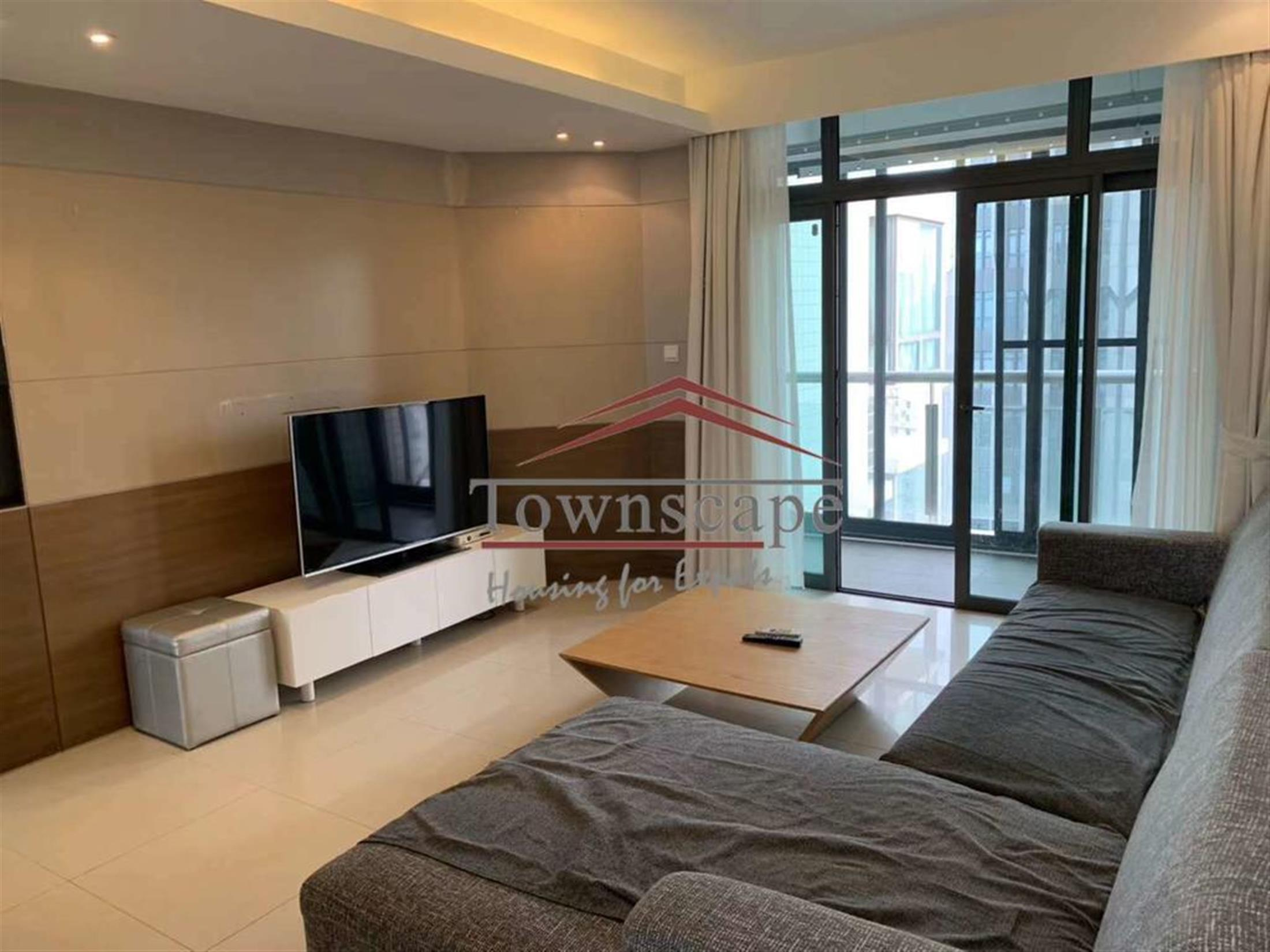 Large bright living room Spacious Parkside Xujiahui Apartment for Rent in Shanghai