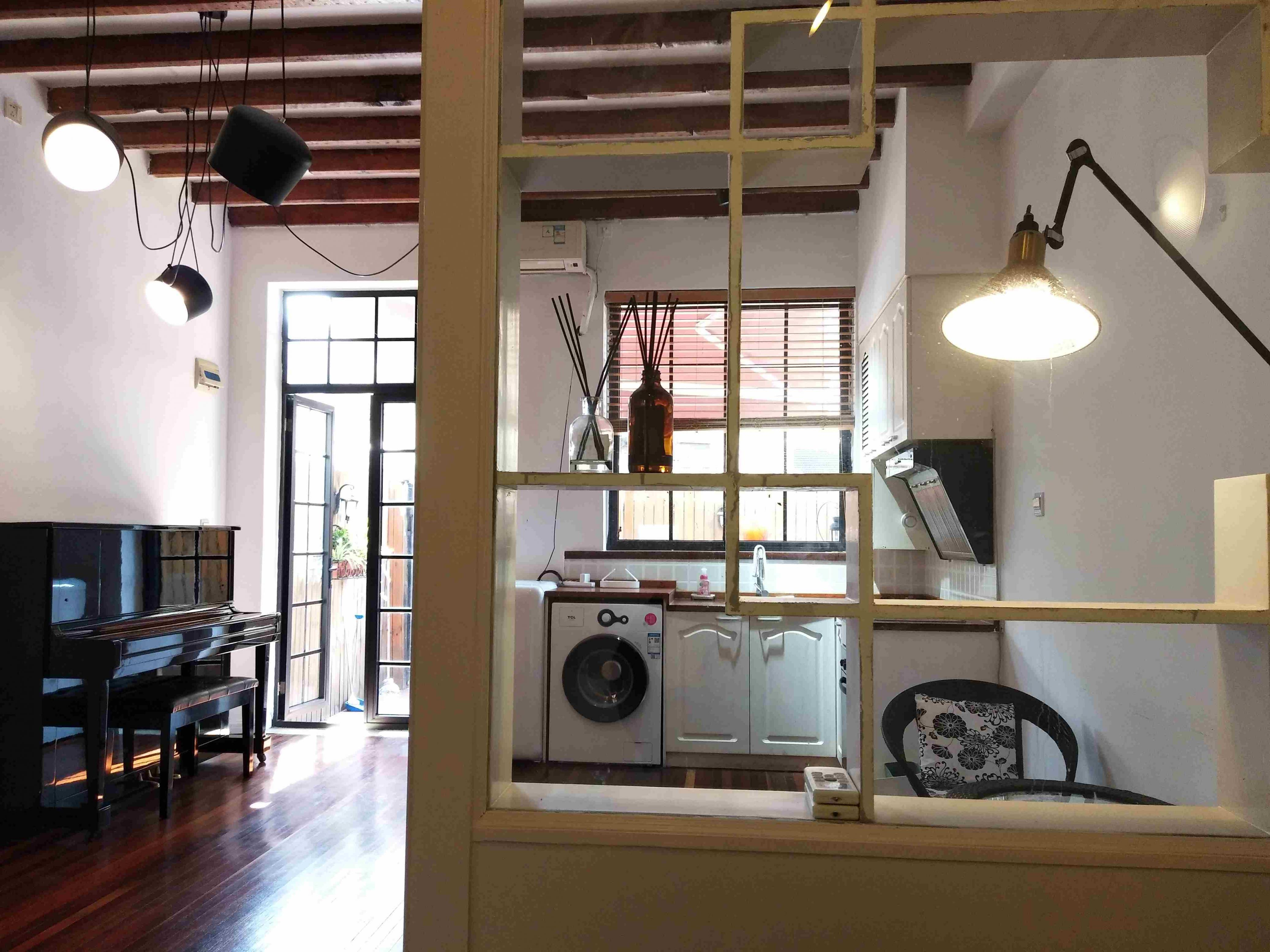 open space Bright Cozy 1BR 1F FFC Lane House Apartment w Yard for Rent in Shanghai